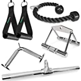 A2ZCARE Combo LAT Pulldown Attachment with Multi-Option: V-Handle, Tricep Rope, Execrise Handle, D-Handle, V-Shape Bar, Rotat