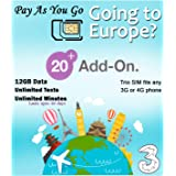 Three Mobile Sim Card 12GB of High-Speed Data + Unlimited Calls & Texts for 30-Days Free-Roaming - 71 Destinations Including