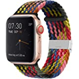 SIXRARI Braided Solo Band Compatible with Apple Watch 38mm 40mm 42mm 44mm, Soft Stretch Loop with Adjustable Sport Elastics V