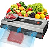 Vacuum Sealer Machine, 80Kpa Vacuum Sealer for Food with Kitchen Food Scale, 2 Food Modes, Automatic Vacuum Air Sealing Syste