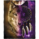 Wolf Dreamcatcher Fleece Throw Blanket