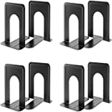 Metal Heavy Duty Black Bookends - 8 Pieces Universal Premium Non-Skid Book Ends Pack for Book Shelves Stopper Movies CDs Vide