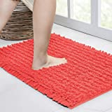 Walensee Bathroom Rug Non Slip Bath Mat (24x17 Inch Coral) Water Absorbent Super Soft Shaggy Chenille Machine Washable Dry Ex