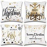 ONWAY Xmas Decoration Gold Snowflakes Merry Christmas Soft Velvet Throw Pillow Covers 18 x 18 (Set of 4, Gold Foil Xmas White