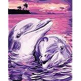 DIY 数字油絵 キャンバスの油絵 大人の子供用ギフト 数字キットでペイント ホームデコレーション - イルカの恋人 40* 50 cm