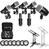 CAD Audio Stage7 Premium 7-Piece Drum Instrument Mic Pack With Vinyl Carrying Case & 7 - 25' XLR Cables + 2 Mic Stands & 2 Ki