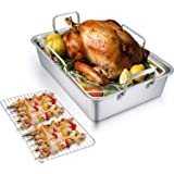 TeamFar Roasting Pan with Rack, 14 Inch Stainless Steel Turkey Roaster Lasagna Pan with V-Shaped Rack & Cooling Rack, Healthy