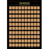 100 Movies Scratch Off Poster - Top Films of All Time Bucket List -Must See Movie Challenge - 100 Essential Movies Scratch of