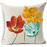 Enchanting Beautiful Tricolor Red Yellow Blue Poppy Flowers Gift Anniversary Day Present Cotton Linen Throw Pillow Case Cushi