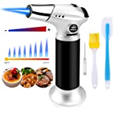 Butane Torch, Kitchen Blow Torch Cooking Torch Lighter Refillable with Safety Lock and Adjustable Flame for Creme Brulee, Bak
