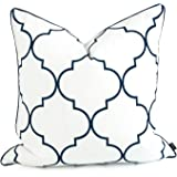 Hofdeco Spring Indoor Outdoor Cushion Cover ONLY, Water Resistant for Patio Lounge Sofa, White Navy Moroccan Quatrefoil, 50cm