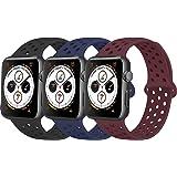 コンパチブル Apple Watch バンド 38mm 40mm 42mm 44mm,アップルウォッチ バンド シリコン スポーツバンド 交換バンド 柔らかい 通気性 iWatch Series 6 5 4 3 2 1に対応 (38mm/40mm S