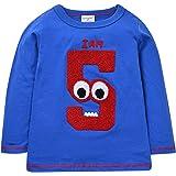 Plus Nao(プラスナオ) 子供用カットソー トップス Tシャツ ロンT 長袖 シンプル ラウンドネック 動物 ベビー キッズ 子供服 男の子 男児