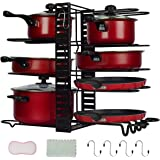 Pan Rack Organizers Pot Rack Duerer 8 Tiers Adjustable Height and Position Pots & Pans Organizer with 3 DIY Methods, Pot Hold