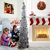PartyTalk 5ft Pop Up Christmas Tree with Stand, Green Tinsel Collapsible Artificial Christmas Tree for Holiday Christmas Home