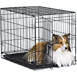 "New World 30"" Folding Metal Dog Crate, Includes Leak-Proof Plastic Tray; Dog Crate Measures 30L x 19W x 21H Inches, for Mediu"