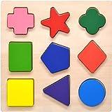 木製 形合わせ パズル シェイプ 図形 幾何 木のおもちゃ GYBBER&MUMU ブロック モンテソッリー教具 幾何認識 色認識 積み木 型はめ 幼児 知育玩具 (9 Pcs)