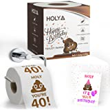 bA1 Gag Gifts - Happy 40th Birthday Toilet Paper - Prank, Decoration, or Gift - Soft & Strong - Comes With Card