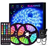 LED Strip Lights with Remote - 32.8ft RGB LED Light Strip Music Sync for Room Lighting, 12V SMD 5050 Color Changing Tape Ligh