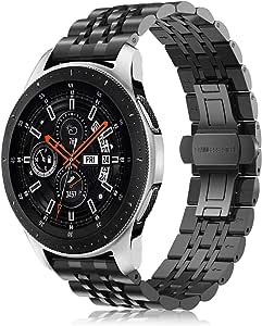 Fintie Samsung Gear S3 / Galaxy Watch 46mm バンド 22mm 時計バンド ステンレスバンド 金属ベルト 交換ベルト 調整工具付き Gear S3 Frontier/S3 Classic/Galaxy Watch 46mm 対応(デザインB,ブラック)