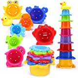 Toddler Stacking Cups Best Rainbow Caterpillar 8 Pack Nesting Cups for Bath Fun Early Educational Toy for Kids Brightly Color