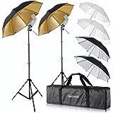 "Neewer® Flash Mount Three Umbrellas Kit (2) 33""/84cm White Soft/Silver Reflective/Gold Reflective Umbrella for Canon 430EX II"