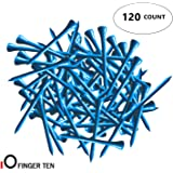 FINGER TEN Golf Tee Wood 2 3/4 3 1/4 Inch Bulk 120 Count, Golf Tees Wooden 70 83 mm Color Blue Red White for Men Women Kids