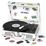 Victrola VSC-400BT-CNV-SDF Bluetooth Suitcase Turntable Canvas - Stickers (White)