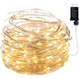 Micro 100 Warm White LED Starry Lights Plug In on 32 Ft Long Silver Ultra Thin String Wire [NEWEST VERSION] Power Adaptor Inc