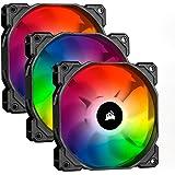Corsair iCUE SP120 RGB PRO, 120 mm, RGB LED, Low-Noise, High Airflow, Case Cooling Fan - Black (Triple Pack)