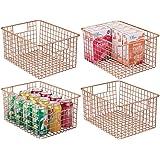 mDesign Farmhouse Decor Metal Wire Food Storage Organizer Bin Basket with Handles - for Kitchen Cabinets, Pantry, Bathroom, L