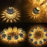 Twinkle Star 13.5 ft 40 LED Globe String Lights, Sliver Moroccan Party Hanging Lights Battery Operated Decor for Indoor, Home