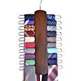 Umo Lorenzo Premium Wooden Necktie and Belt Hanger, Walnut Wood Center Organizer and Storage Rack with a Non-Slip Finish - 20