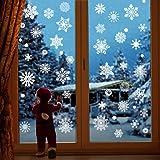 JOYET 232 PCS Christmas Snowflake Window Stickers Clings Decorations - White Christmas Window Decals for Xmas Winter Christma