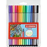 STABILO Felt-tip Stabilo Pen 68 6815-1 Assorted Fibre Felt Tip Pens Wallet of 15, Multicoloured, (49432)