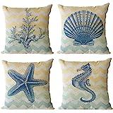 U-Love Ocean Theme Throw Pillow Case Cotton Linen Decorative Pillow Covers 18 X 18 Square Shape-Starfish-Seahorse-Corals 4 Pa
