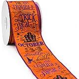"CT CRAFT LLC Orange Satin Printed Halloween Pattern Wired Ribbon - 2.5"" x 10 Yards x 1 Roll"