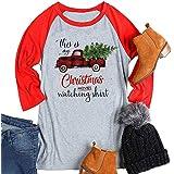 YUYUEYUE This is My Hallmark Christmas Movie Watching Shirt T-Shirt Women Truck Tree Graphic Raglan 3/4 Sleeve Tee Top