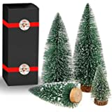 Desktop Miniature Christmas Trees Mini Pine Tree with Snow and Wood Base for Xmas Holiday Party Home Tabletop Decor(4Pcs)