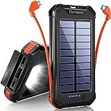 【20000mAh&ケーブル内蔵&PSE認証済】ソーラーモバイルバッテリー 大容量 Damipow 3台同時充電(MicroB+Type-Cケーブル内蔵+USBポート)ソーラーチャージャー 3way蓄電 ソーラー充電器 LEDライト付き