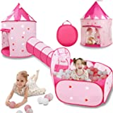 VOJUEAR 3pc Kids Play Tent for Girls with Ball Pit, Crawl Tunnel, Princess Tents for Toddlers, Gift for Girls Indoor & Outdoo