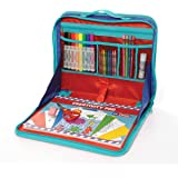 EZDesk Travel Activity Kit, Laptop Style Desk with Writing and Craft Accessories for Children