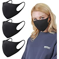 SPAKER 3 PACK Black Fashion Face Mask、 黒ファッションマスク,ユニセックス、洗濯可能、再使用可能、空気中の刺激物から着用者を守
