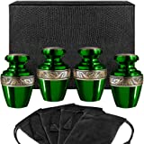 Serenity Green Beautiful Small Mini Keepsake Urn for Human Ashes - Set of 4 - with Velvet Case and 4 Pouches