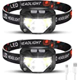 Foxdott Rechargeable Headlamp 2 Pack, LED Headlamp, Head Lamps for Adults, Flashlight with White Red Lights, USB Rechargeable