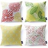 "PHANTOSCOPE Set of 4 Living Yellow Green Decorative Throw Pillow Case Cushion Cover 18"" x 18"" 45cm x 45cm"