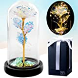 Galaxy Rose Flower Gift Crystal - Beauty and the Beast Rose In Glass Dome with LED Fairy Lights - Gold Forever Rose Gifts For
