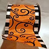 Reliant Ribbon Ribbon, 90564W-517-40F, Orange/Black, 2-1/2 Inch X 10 Yards