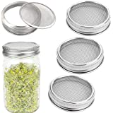 4 Pack Sprouting Lids Stainless Steel - Mesh Jar Sprouting Strainer Lid Kit for Wide Mouth Mason Jars Canning Jars, Sprouting