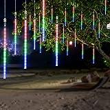 OMGAI Waterproof Meteor Shower Rain Lights - 30cm 8 Tubes Drop Icicle Snow Falling Raindrop Cascading Lights for Wedding Part
